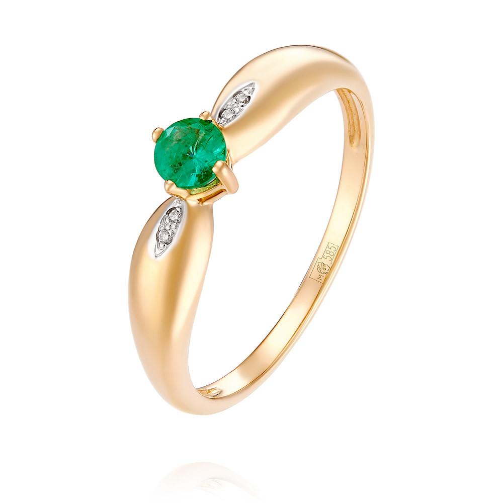 Купить Кольцо из красного золота 585 пробы с бриллиантом, изумрудом, АДАМАС, Красный, 1416549-А500Д-433
