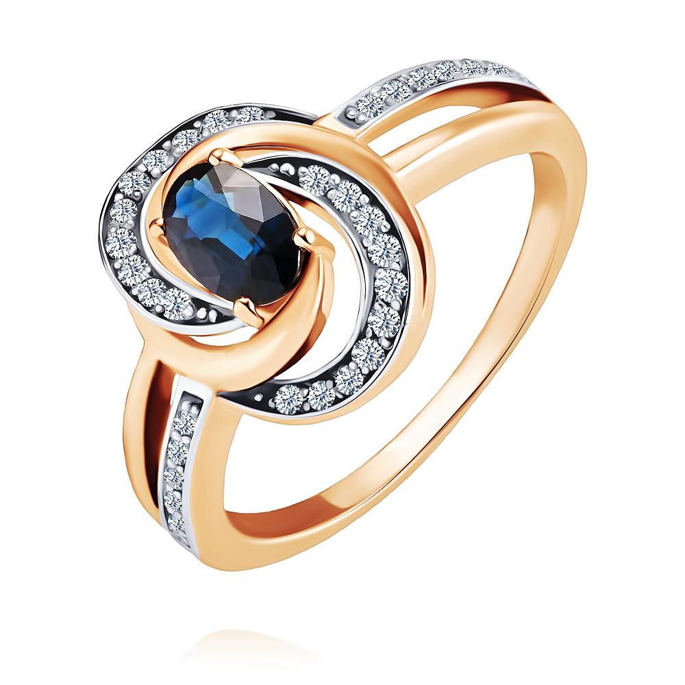 Купить Кольцо из красного золота 585 пробы с бриллиантом, сапфиром, АДАМАС, Красный, 1416550-А500Д-432