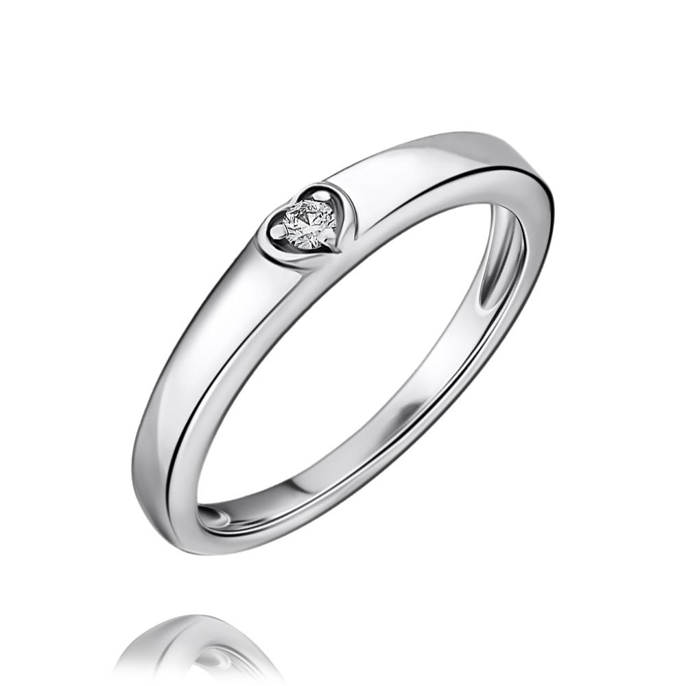Кольцо из белого золота 585 пробы с бриллиантом, АДАМАС, Белый, 1416703-А51Д-41  - купить со скидкой