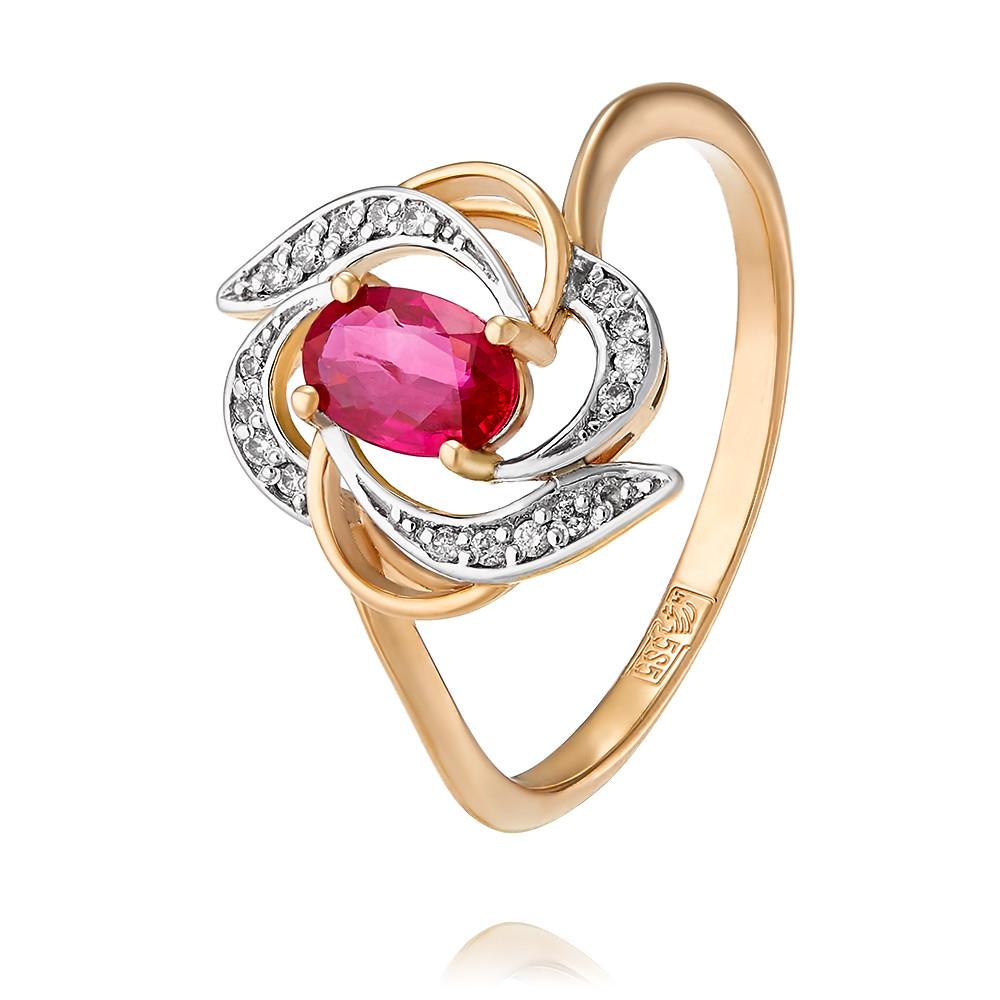 Купить Кольцо из красного золота 585 пробы с бриллиантом, рубином, АДАМАС, Красный, 1416964-А500Д-431