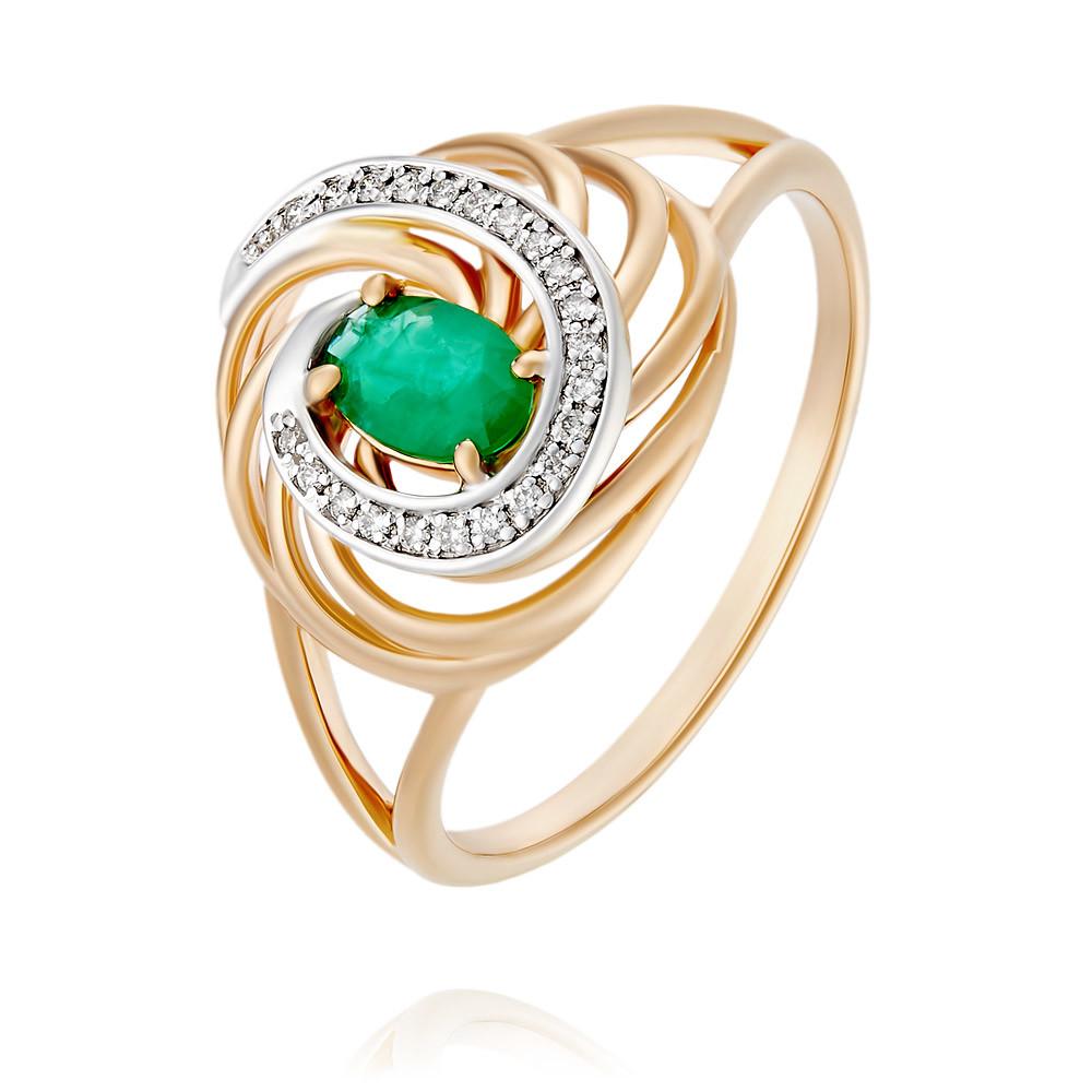 Купить Кольцо из красного золота 585 пробы с бриллиантом, изумрудом, АДАМАС, Красный, 1416966-А50Д-433
