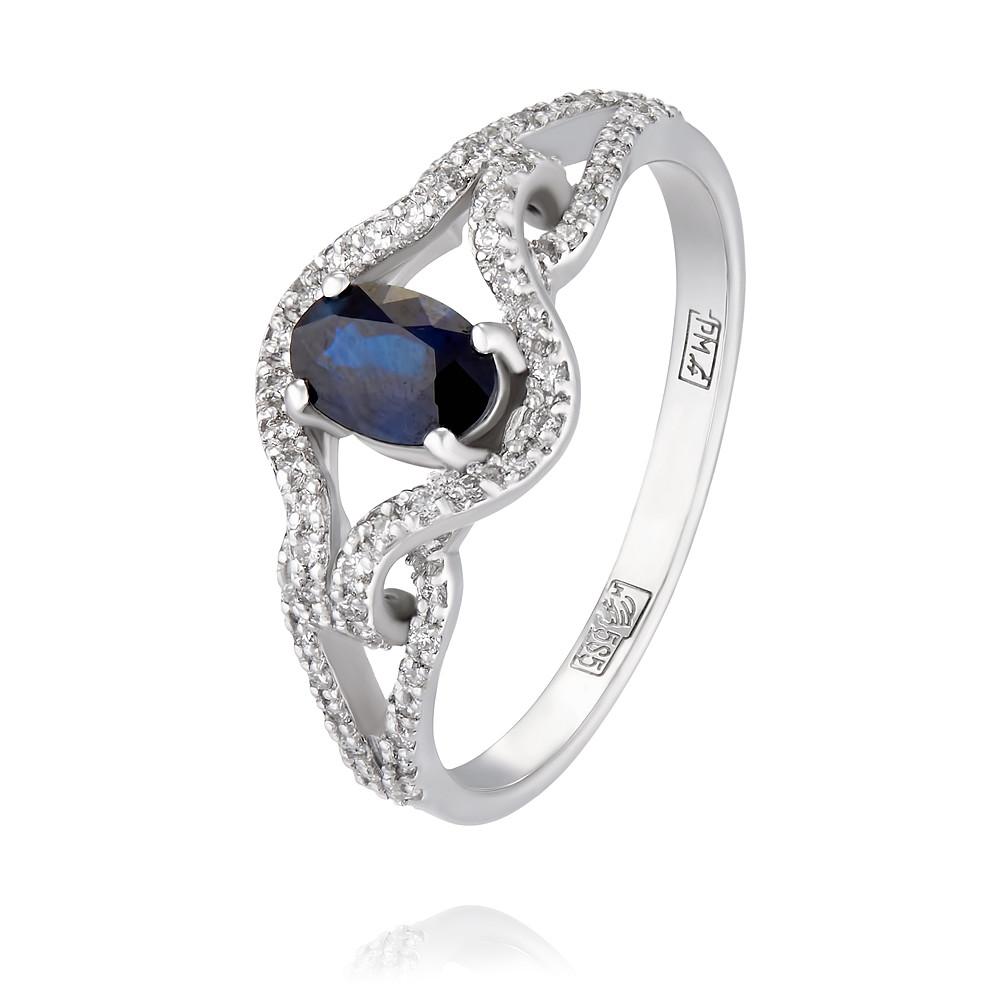 Купить Кольцо из белого золота 585 пробы с бриллиантом, сапфиром, АДАМАС, Белый, 1417013-А51Д-432