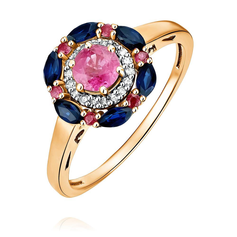 Купить со скидкой Кольцо из красного золота 585 пробы с бриллиантом, рубином, сапфиром