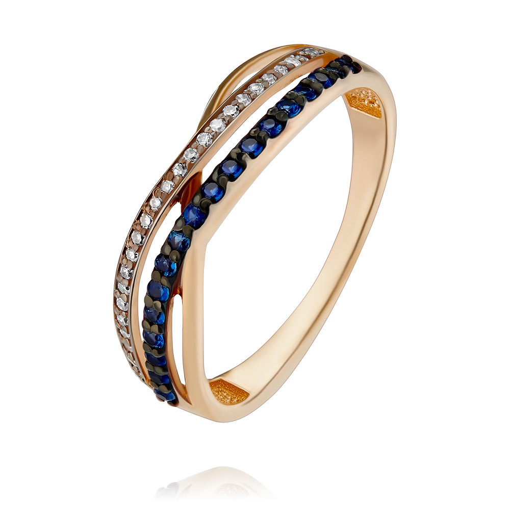Купить со скидкой Кольцо из красного золота 585 пробы с бриллиантом, сапфиром