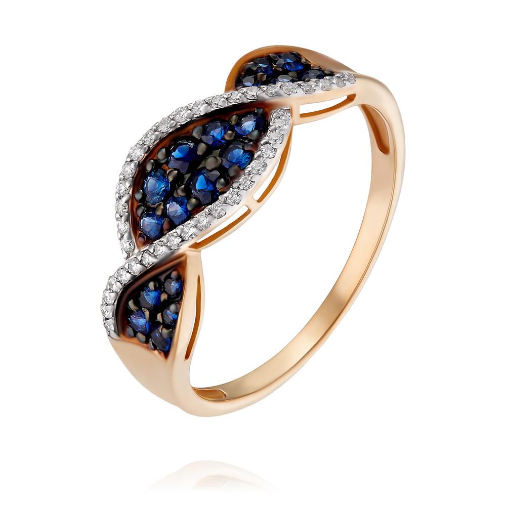 Купить Кольцо из красного золота 585 пробы с бриллиантом, сапфиром, АДАМАС, Красный, 1417121-А500ДЧ-432
