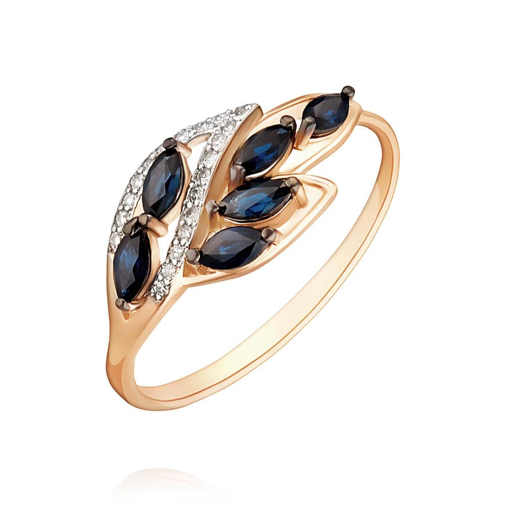 Купить Кольцо из красного золота 585 пробы с бриллиантом, сапфиром, АДАМАС, Красный, 1417127-А500ДЧ-432