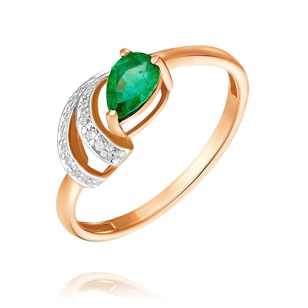 Кольцо из красного золота 585 пробы с бриллиантом, изумрудом