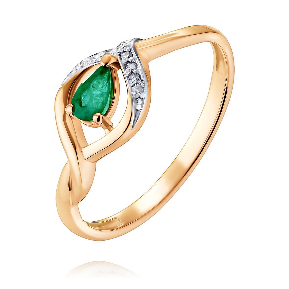 Купить Кольцо из красного золота 585 пробы с бриллиантом, изумрудом, АДАМАС, Красный, 1417132-А500Д-433