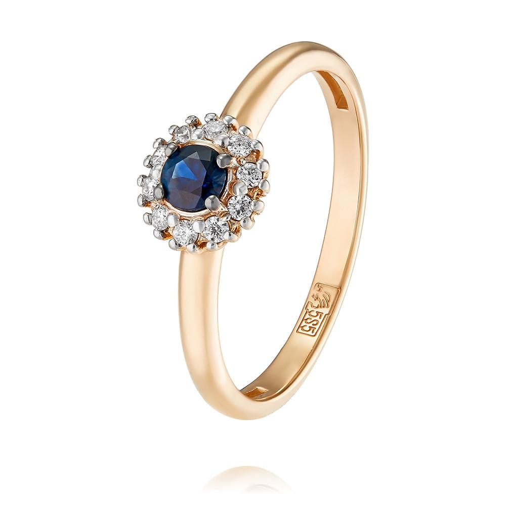Купить Кольцо из красного золота 585 пробы с бриллиантом, сапфиром, АДАМАС, Красный, 1417312-А500Д-432