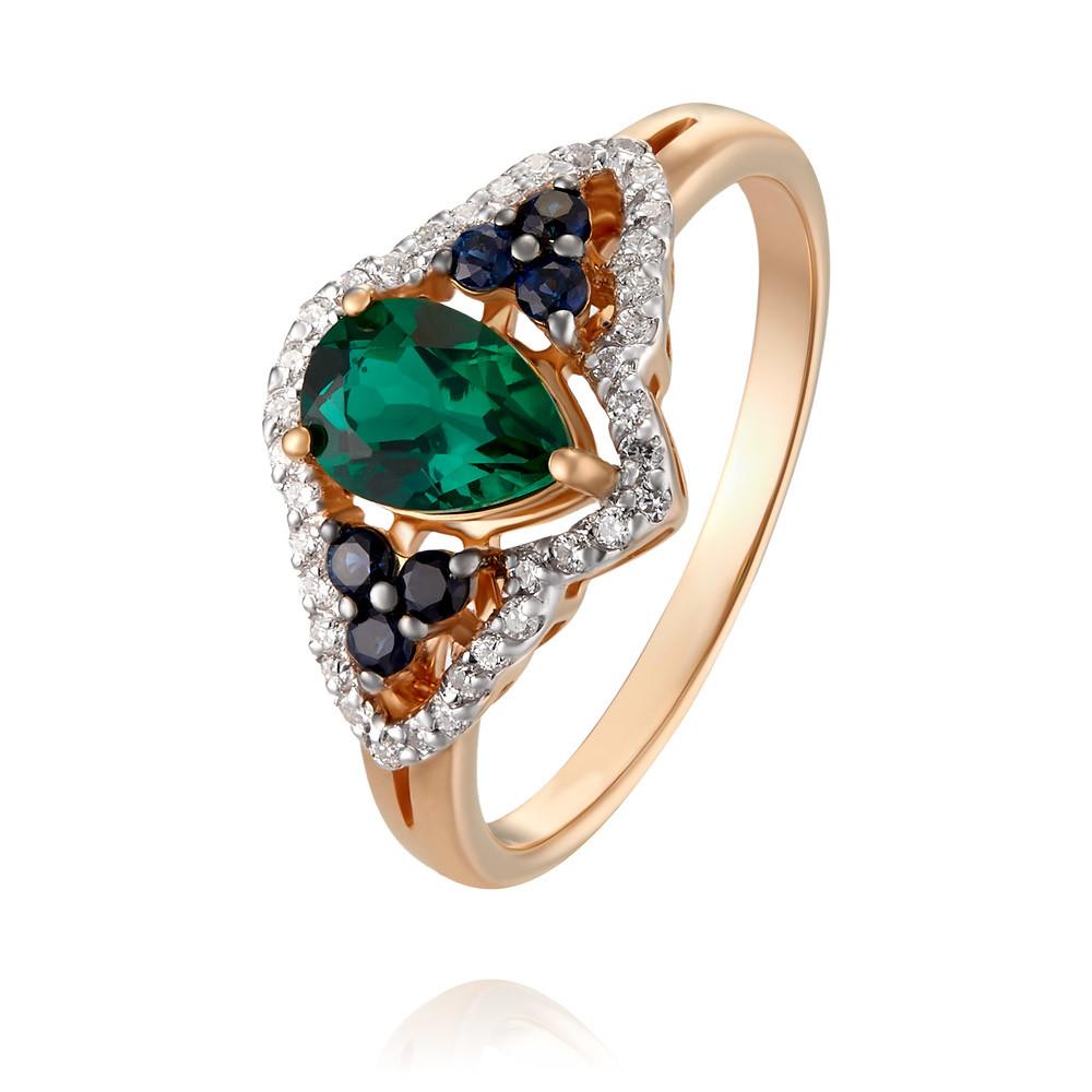 Купить Кольцо из красного золота 585 пробы с бриллиантом, изумрудом, сапфиром, АДАМАС, Красный, 1417331-А500Д-443