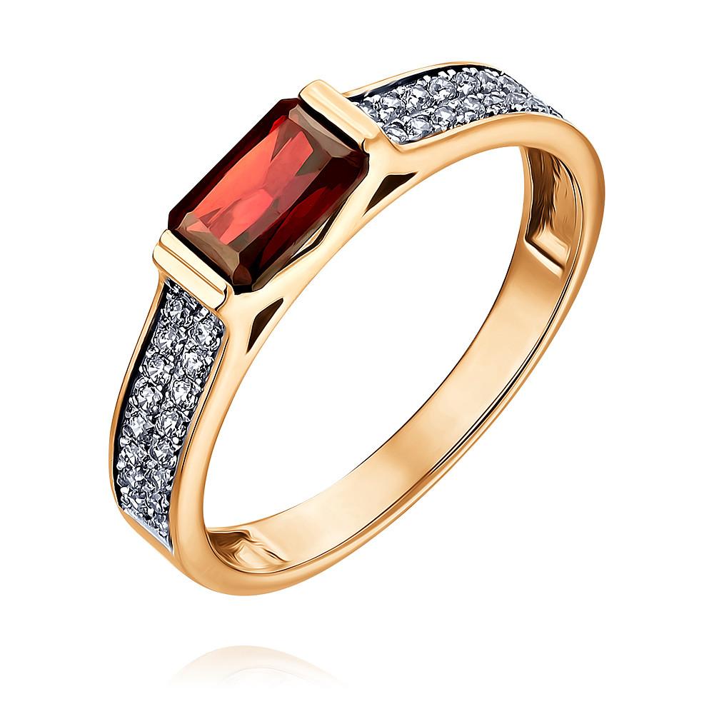 Кольцо из красного золота 585 пробы с фианитом и гранатом