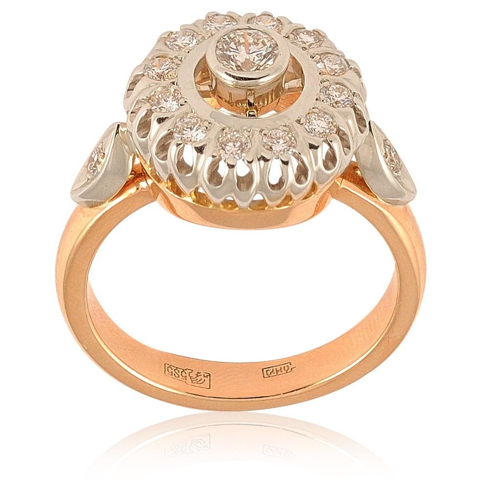 Купить Кольцо из красного золота 585 пробы с бриллиантом, Другие, Красный, Для женщин, 1417660/02-А501-41