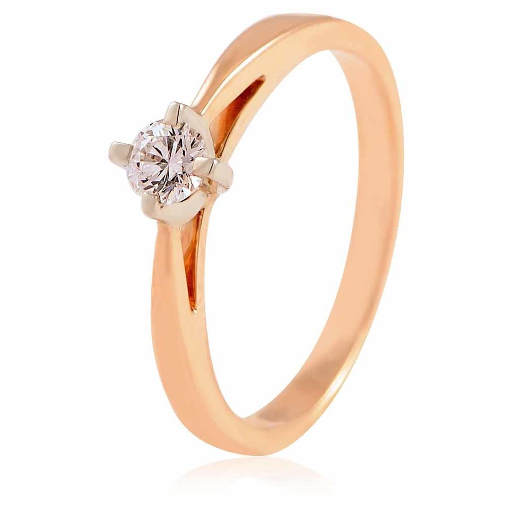 Купить Кольцо из красного золота 585 пробы с бриллиантом, Другие, Красный, Для женщин, 1417666/01-А501-41