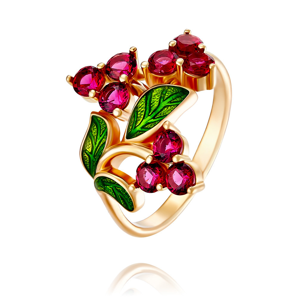 Купить со скидкой Кольцо из красного золота 585 пробы с нанокристаллом, эмалью