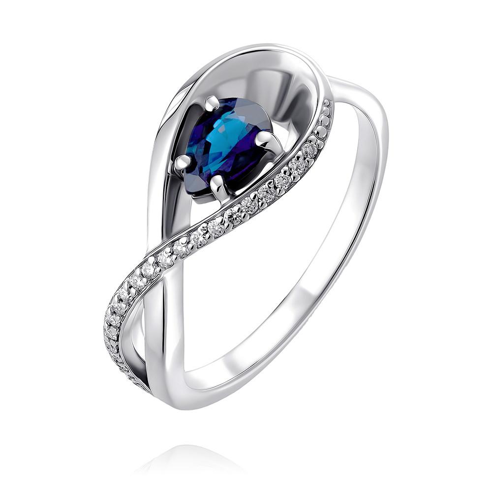 Купить Кольцо из белого золота 585 пробы с бриллиантом, сапфиром, АДАМАС, Белый, 1417841-А51Д-432