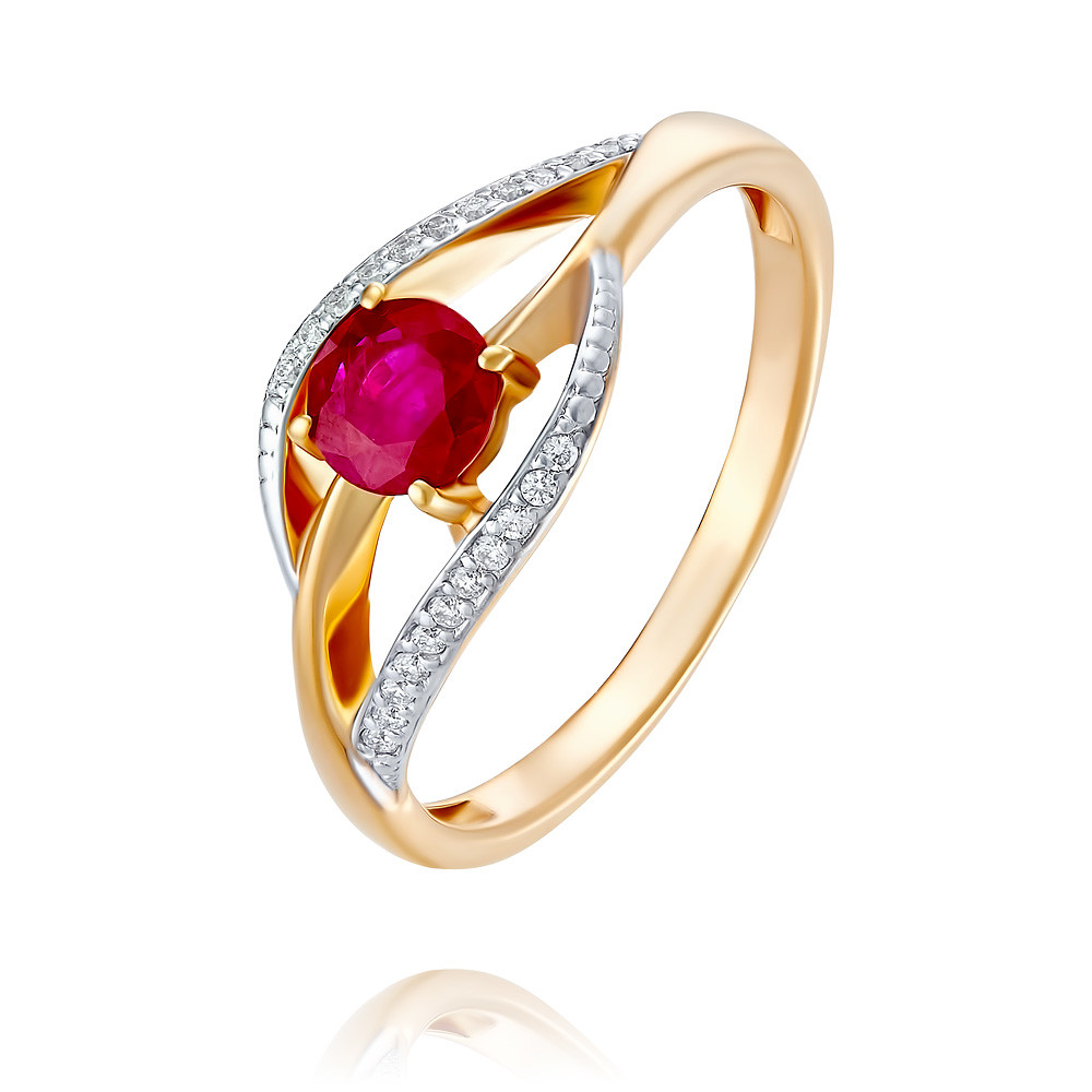 Купить Кольцо из красного золота 585 пробы с бриллиантом, рубином, АДАМАС, Красный, 1417842-А500Д-431
