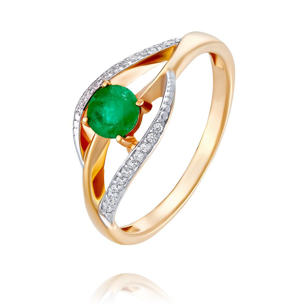 Купить Кольцо из красного золота 585 пробы с бриллиантом, изумрудом, АДАМАС, Красный, 1417842-А500Д-433