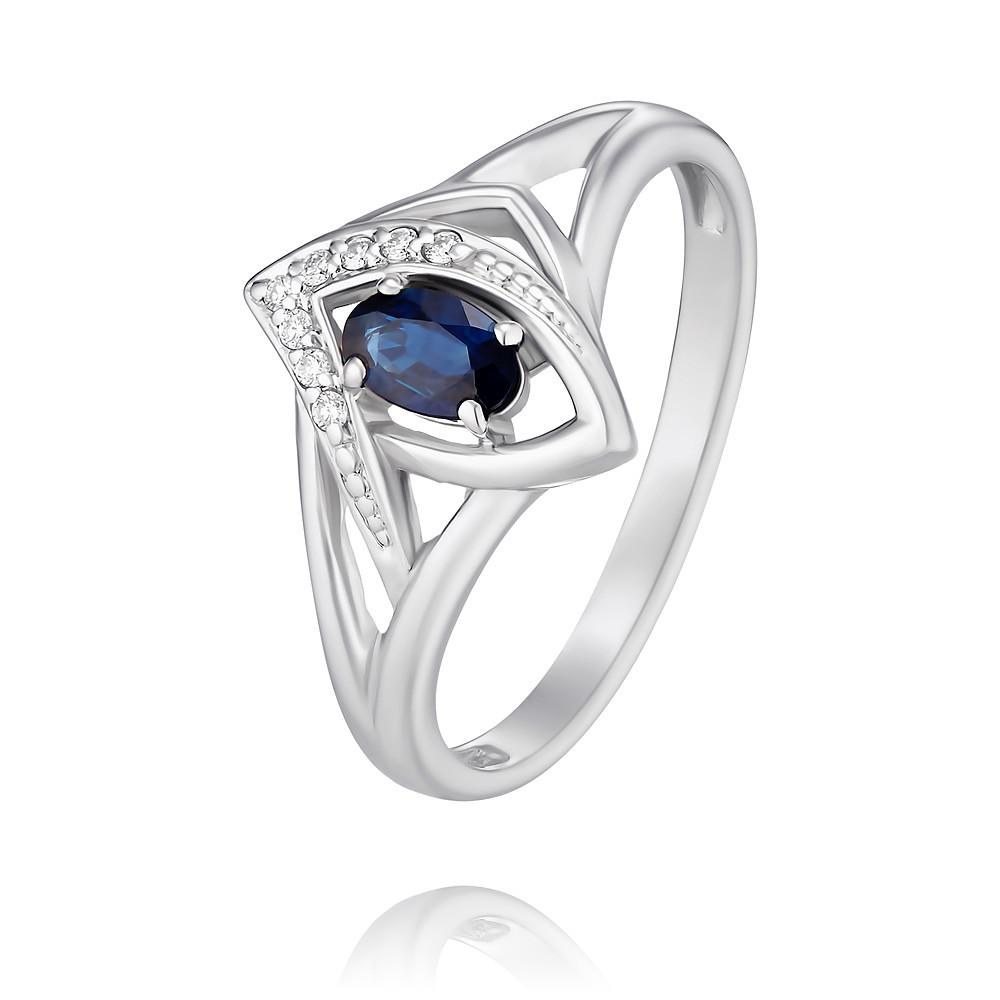 Купить Кольцо из белого золота 585 пробы с бриллиантом, сапфиром, АДАМАС, Белый, 1417890-А51Д-432