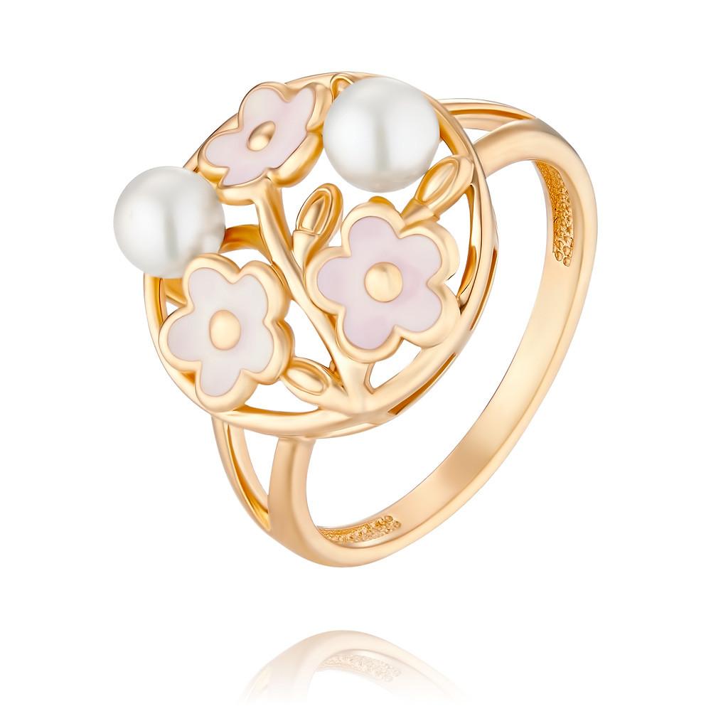 Купить Кольцо из красного золота 585 пробы с жемчугом, эмалью, АДАМАС, Красный, 1417896-А500Э-727