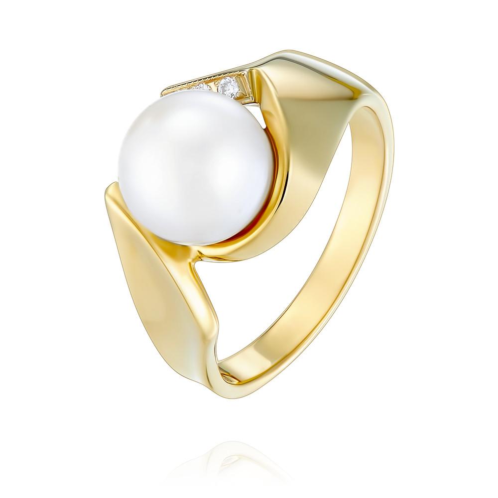 Купить со скидкой Кольцо из желтого золота 585 пробы с бриллиантом, жемчугом