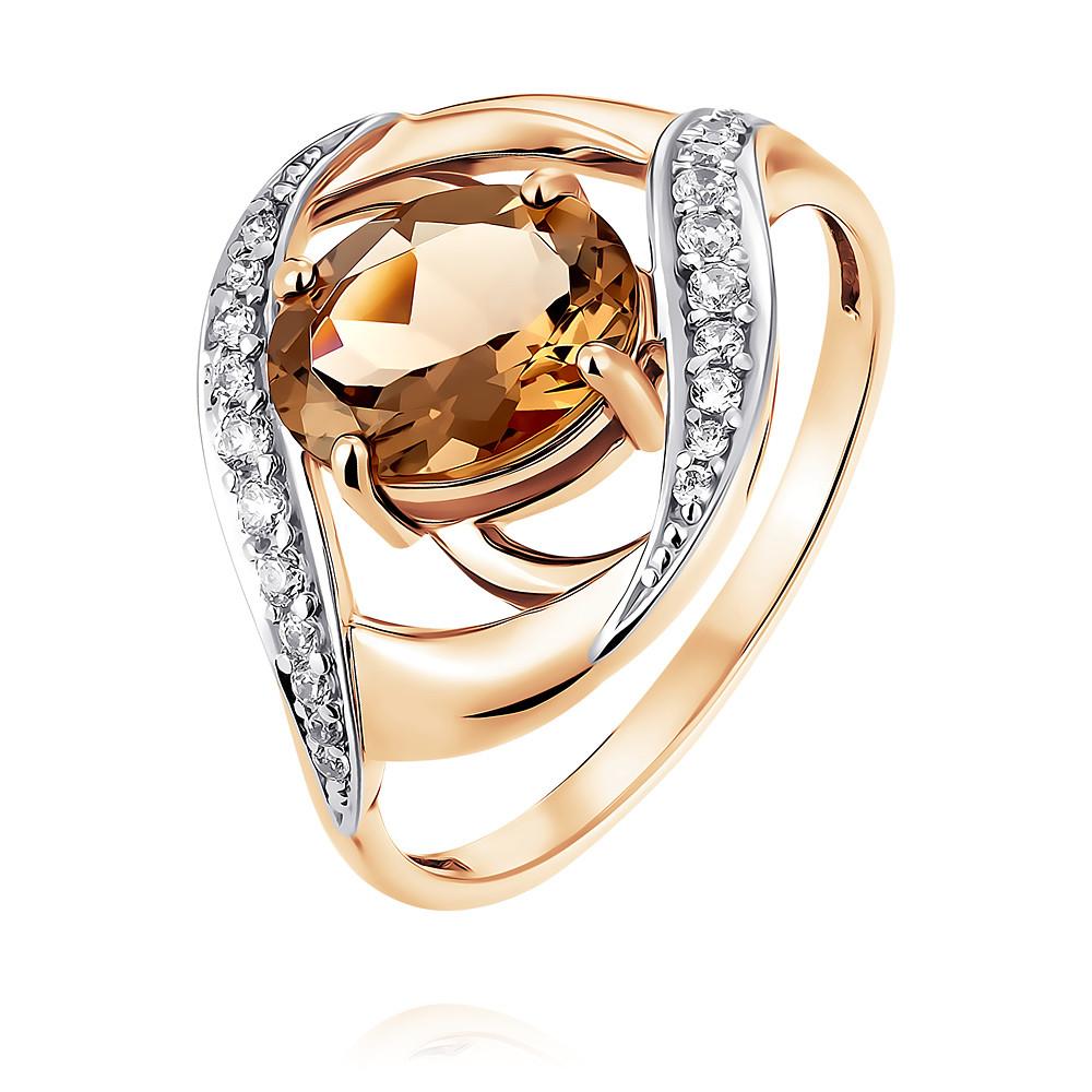 Купить Кольцо из красного золота 585 пробы с кварцем, фианитом, АДАМАС, Красный, 1417940-А500Д-626