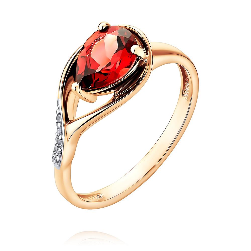 Купить Кольцо из красного золота 585 пробы с гранатом, фианитом, АДАМАС, Красный, 1417943-А500Д-655