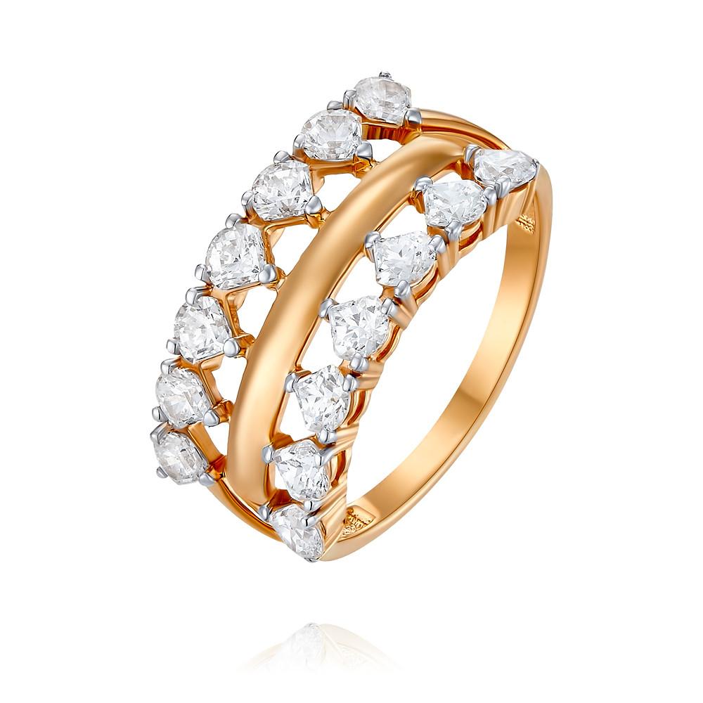 Купить Кольцо из красного золота 585 пробы с фианитом, АДАМАС, Красный, 1418038-А500Д-72