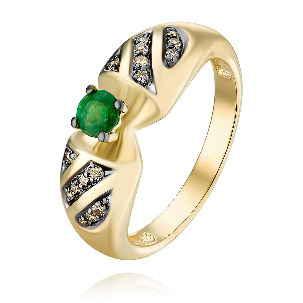 Купить Кольцо из желтого золота 585 пробы с бриллиантом, изумрудом, АДАМАС, Желтый, 1418049-А555Ч-483