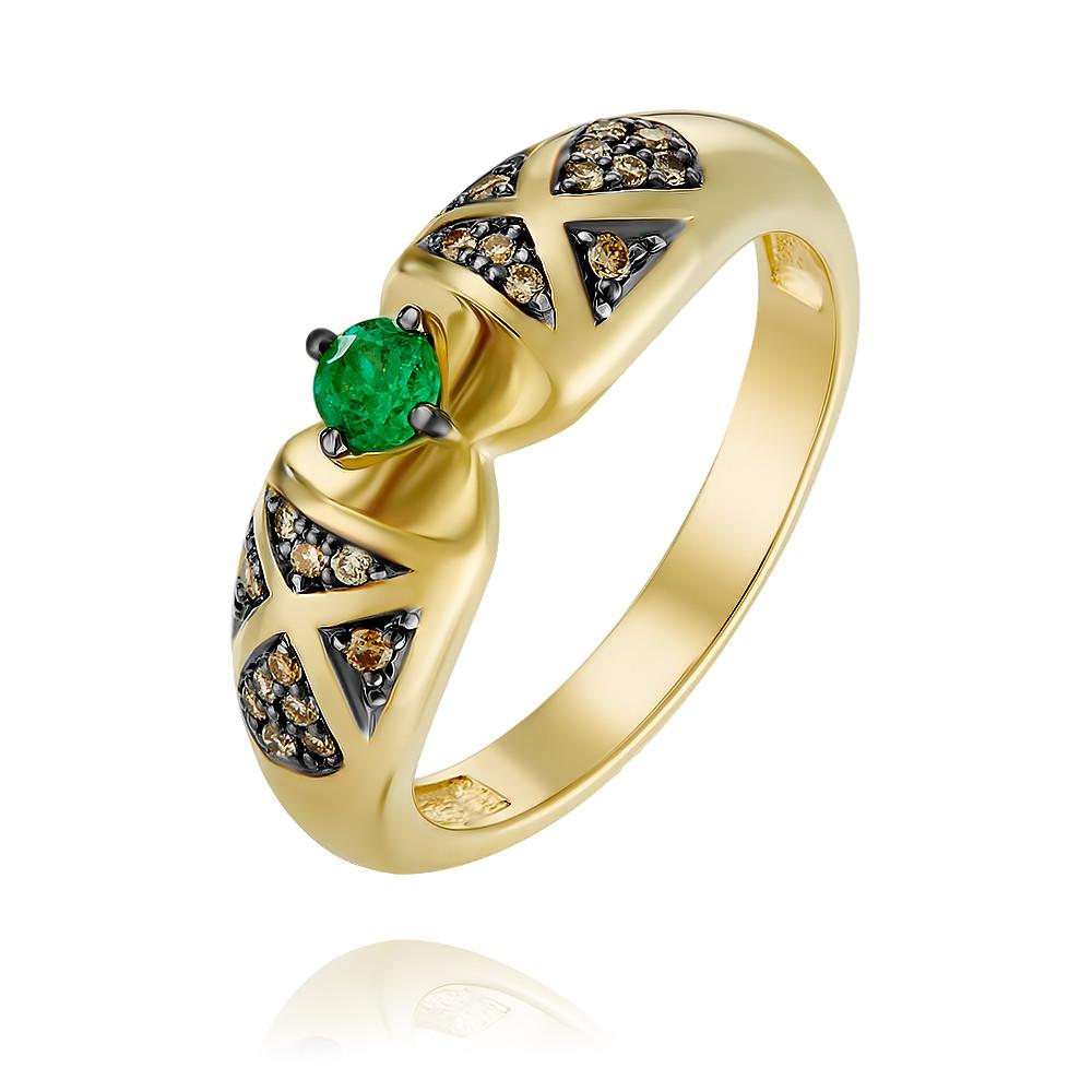 Купить Кольцо из желтого золота 585 пробы с бриллиантом, изумрудом, АДАМАС, Желтый, 1418052-А555Ч-483