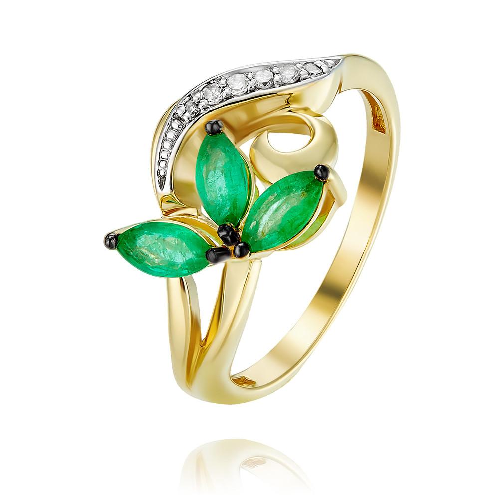 Купить Кольцо из желтого золота 585 пробы с бриллиантом, изумрудом, АДАМАС, Желтый, 1418061-А555ДЧ-433
