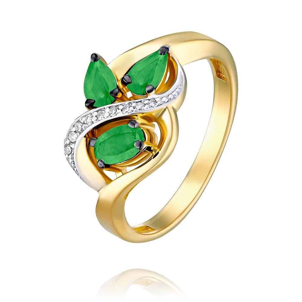Купить Кольцо из желтого золота 585 пробы с бриллиантом, изумрудом, АДАМАС, Желтый, 1418062-А555ДЧ-433