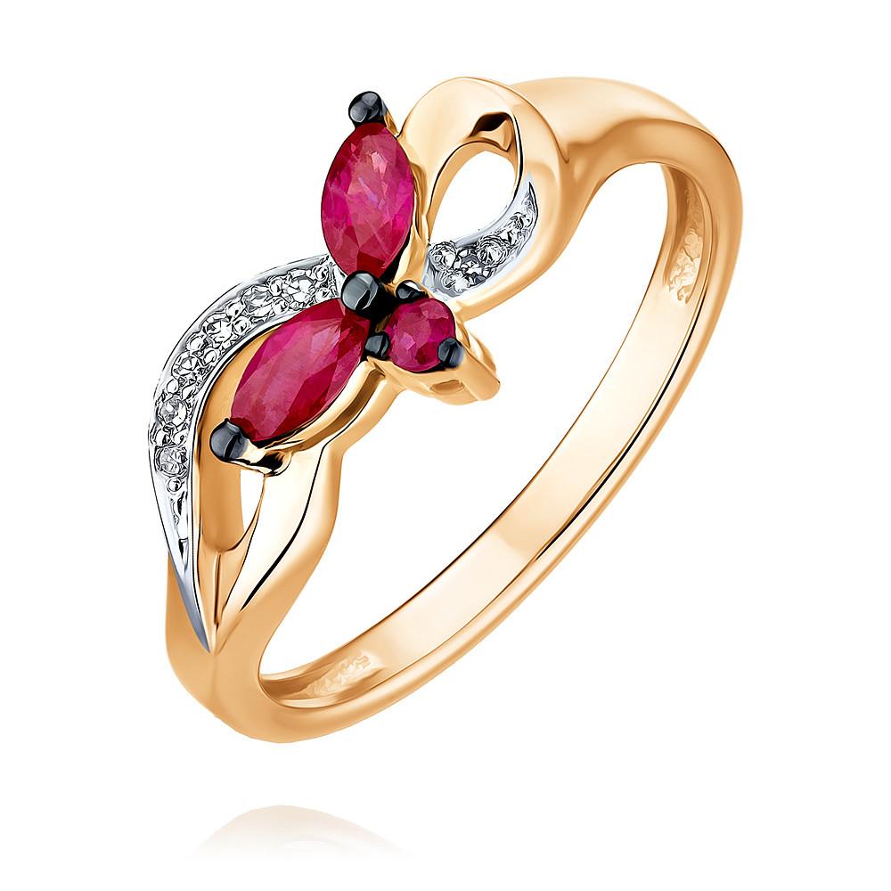 Купить Кольцо из красного золота 585 пробы с бриллиантом, рубином, АДАМАС, Красный, 1418063-А500ДЧ-431