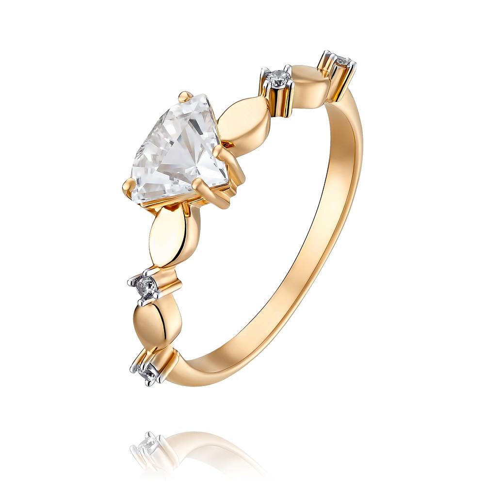Купить Кольцо из красного золота 585 пробы с фианитом, АДАМАС, Красный, 1418089-А500-72
