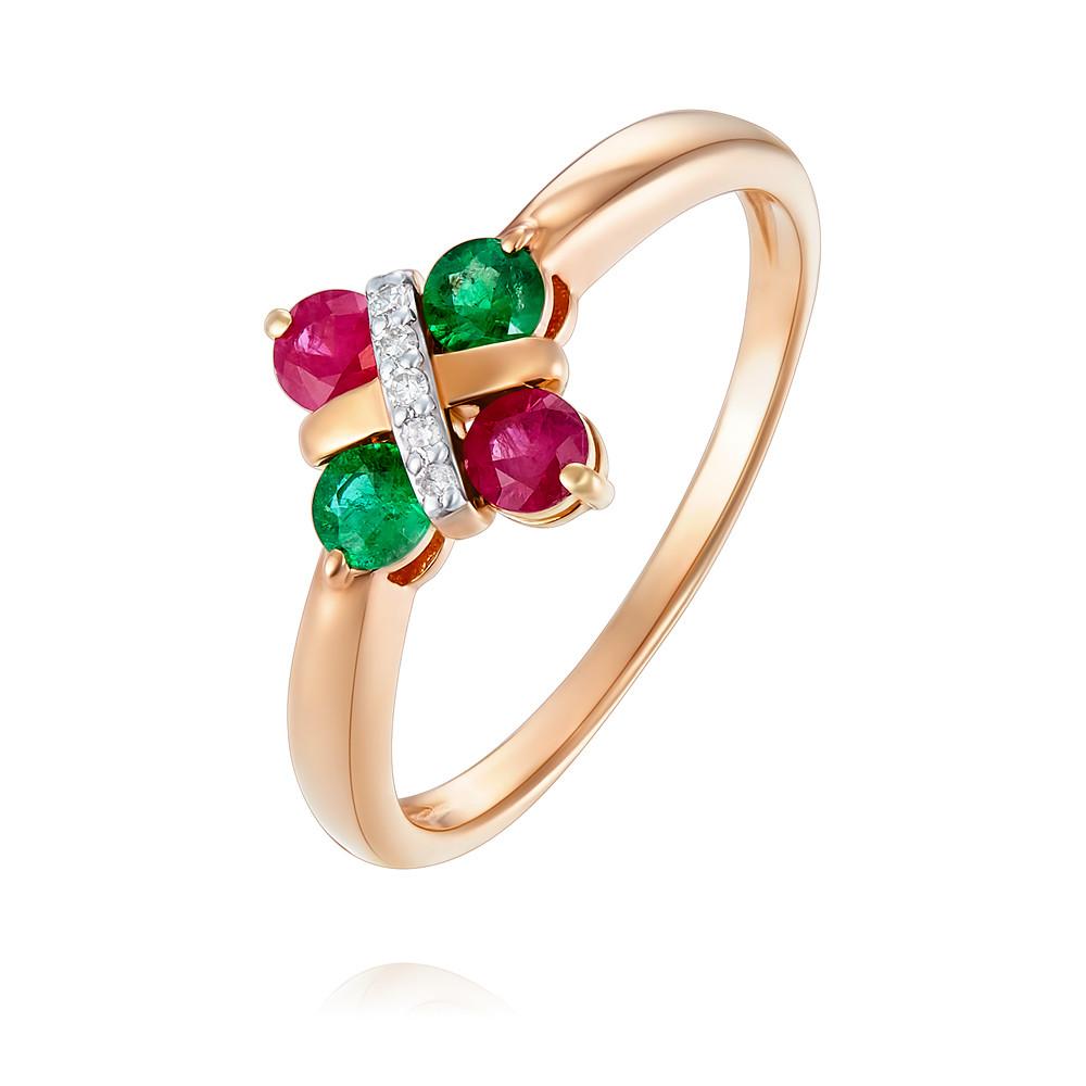 Купить Кольцо из красного золота 585 пробы с бриллиантом, изумрудом, рубином, АДАМАС, Красный, 1418157-А500Д-429