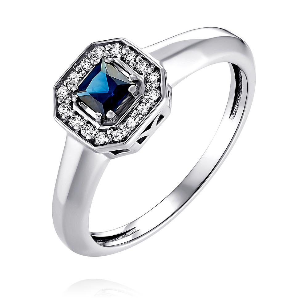 Купить Кольцо из белого золота 585 пробы с бриллиантом, сапфиром, АДАМАС, Белый, 1418164-А51Д-432