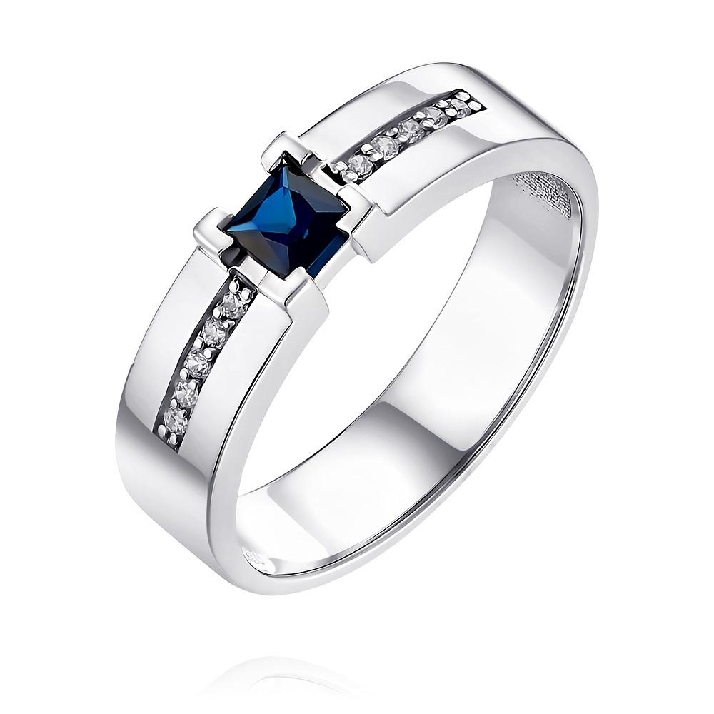 Купить Кольцо из белого золота 585 пробы с бриллиантом, сапфиром, АДАМАС, Белый, 1418166-А51Д-432