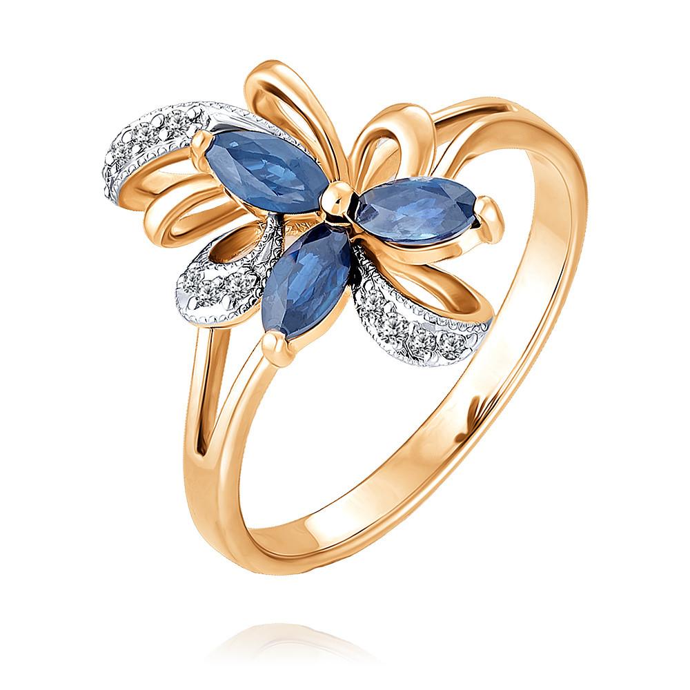 Купить Кольцо из красного золота 585 пробы с бриллиантом, сапфиром, SOKOLOV, Красный, Для женщин, 1422058/01-А50Д-432