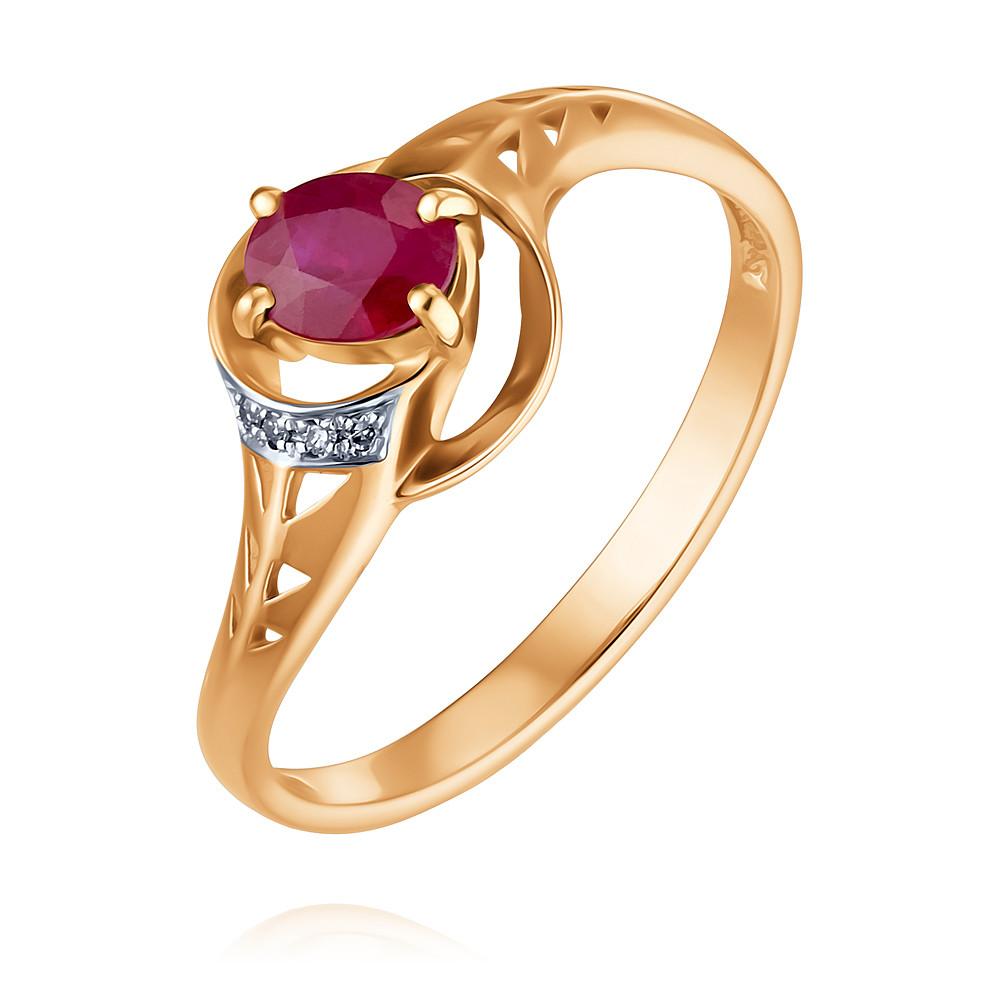 Кольцо из красного золота 585 пробы с бриллиантом, рубиномКольца<br><br><br>Вставка: Бриллиант, Рубин<br>Вес: 1.75 г<br>Артикул: 1425179/01-А50Д-431<br>Цвет: Красный<br>Металл: Золото<br>Проба: 585<br>Пол: Для женщин
