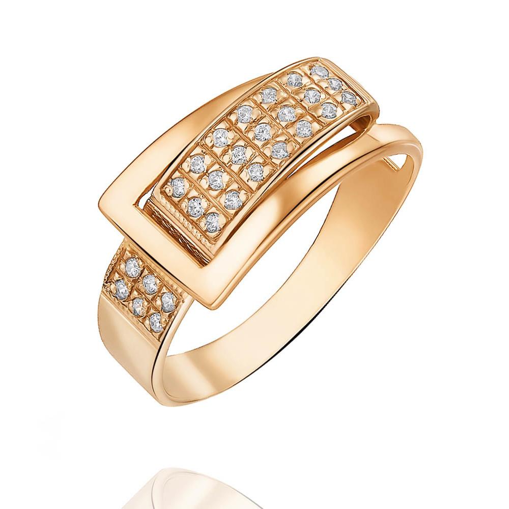 Купить Кольцо из красного золота 585 пробы с фианитом, Другие, Красный, Для женщин, 1426628/01-А50Д-72