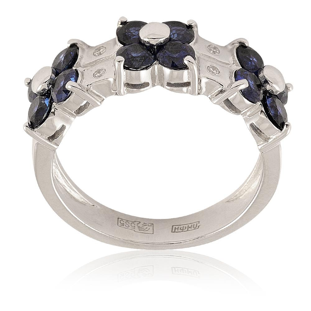 Купить Кольцо из белого золота 585 пробы с бриллиантом, сапфиром, Другие, Белый, Для женщин, 1427017/01-А511Д-432