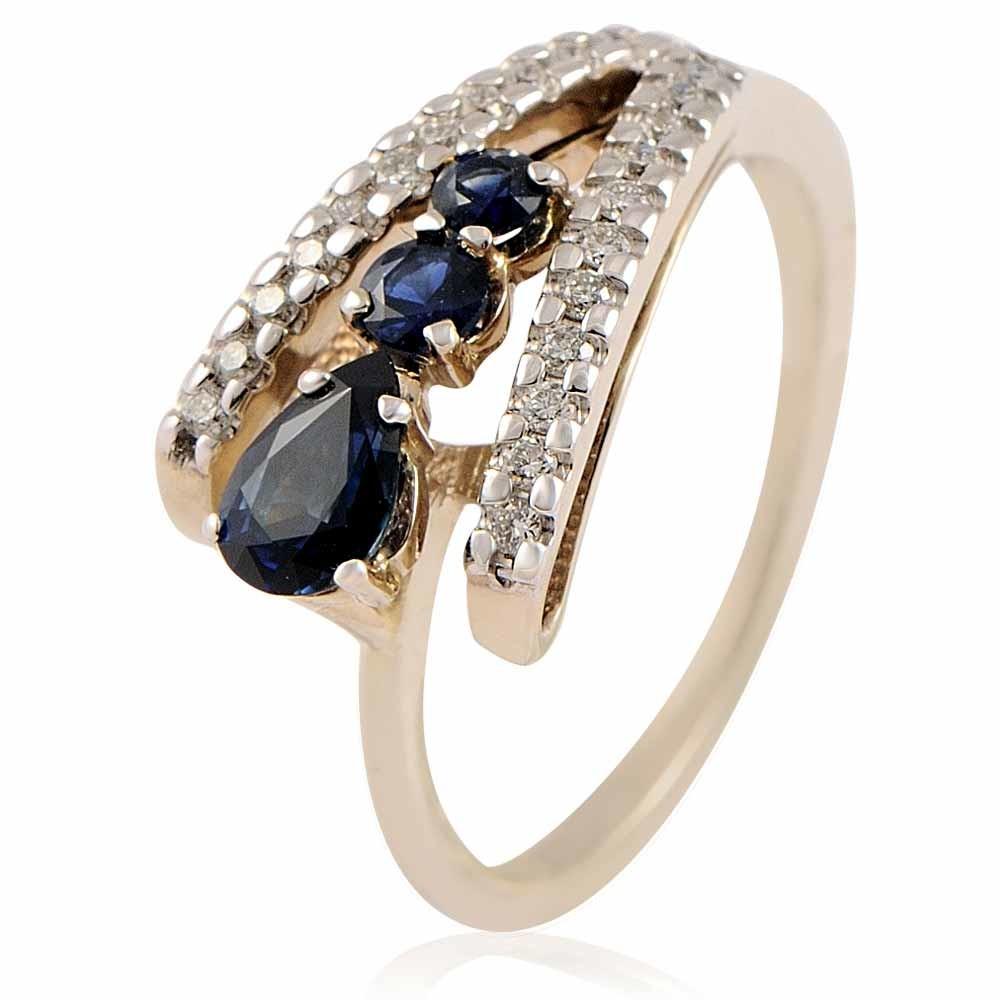 Купить Кольцо из белого золота 585 пробы с бриллиантом, сапфиром, Другие, Белый, Для женщин, 1428592/01-А511-432