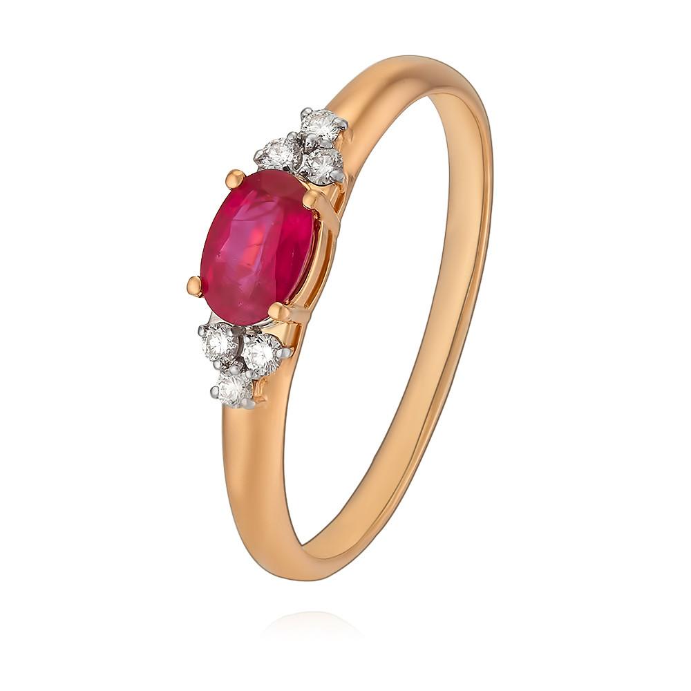 Купить Кольцо из красного золота 585 пробы с бриллиантом, рубином, Другие, Красный, Для женщин, 1428685/01-А50Д-431