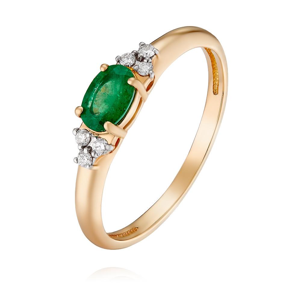 Купить Кольцо из красного золота 585 пробы с бриллиантом, изумрудом, Другие, Красный, Для женщин, 1428685/01-А50Д-433