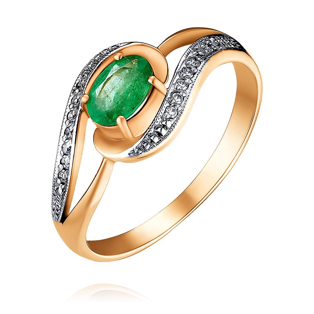 Купить Кольцо из красного золота 585 пробы с бриллиантом, изумрудом, Другие, Красный, Для женщин, 1428690/01-А50Д-433