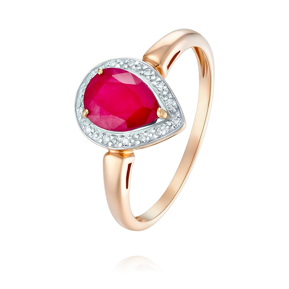 Купить Кольцо из красного золота 585 пробы с бриллиантом, рубином, Другие, Красный, Для женщин, 1430459/02-А50Д-431