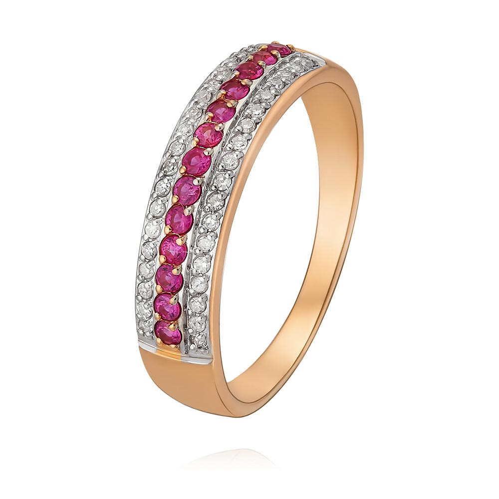 Купить Кольцо из красного золота 585 пробы с бриллиантом, рубином, Другие, Красный, Для женщин, 1430672/01-А50Д-431