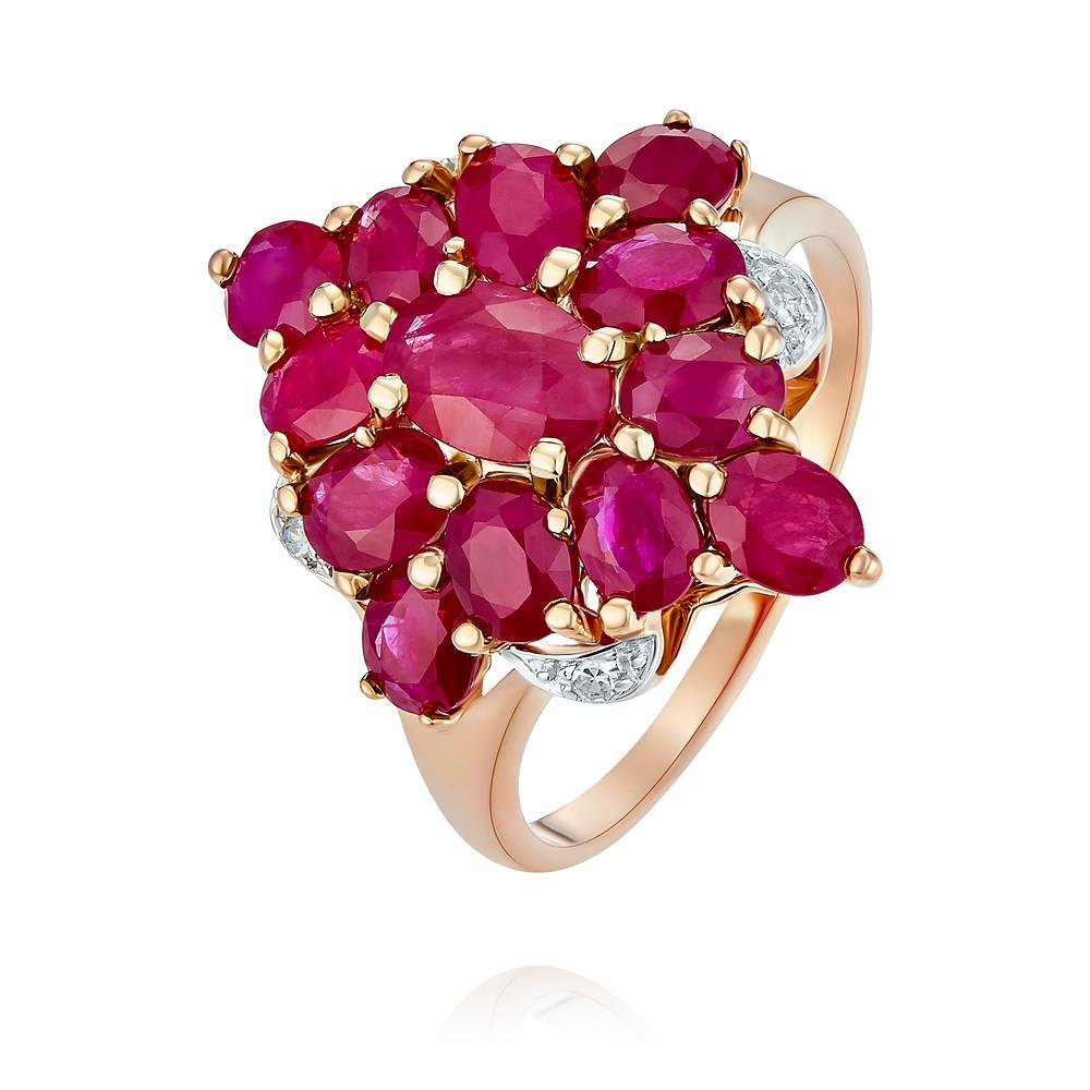 Купить Кольцо из красного золота 585 пробы с бриллиантом, рубином, Другие, Красный, Для женщин, 1431492/03-А50-431