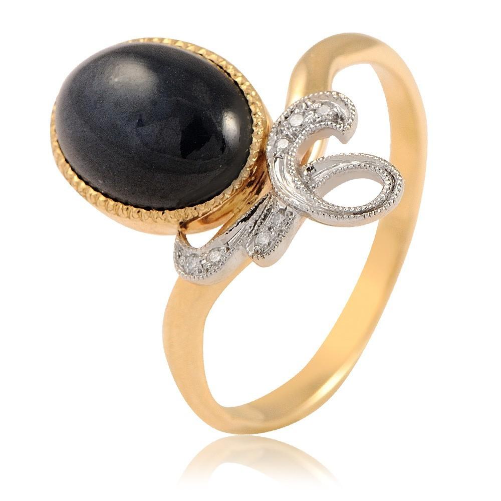 Купить Кольцо из желтого золота 585 пробы с бриллиантом, сапфиром, Другие, Желтый, Для женщин, 1433316/01-А551-432