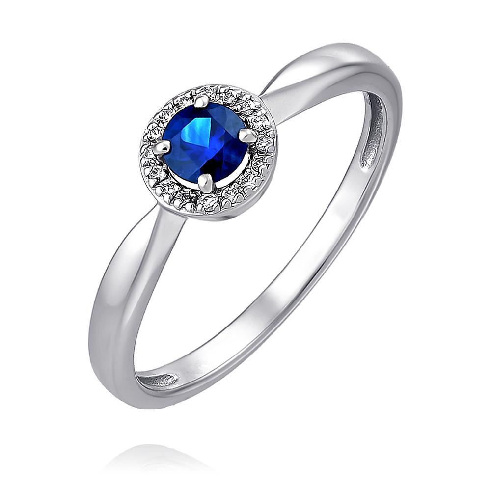 Купить Кольцо из белого золота 585 пробы с бриллиантом, сапфиром, Другие, Белый, Для женщин, 1433381/01-А511Д-432