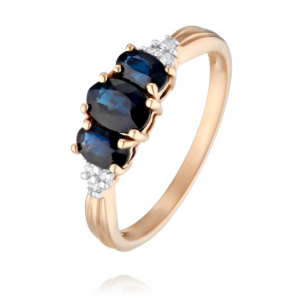 Купить Кольцо из красного золота 585 пробы с бриллиантом, сапфиром, Другие, Красный, Для женщин, 1434143/03-А50Д-432